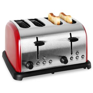 TK-BT-211-R Retro Toaster 4-slices Stainless Steel 1650W - Red