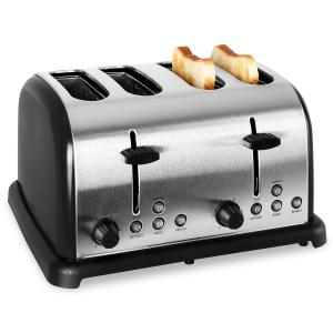 TK-BT-211-B Retro Toaster 4-slices Stainless Steel 1650W - Black