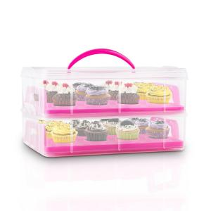 USS Pink Cookie Cake Transporter Containers 2 Tiers 2 Inserts Handles