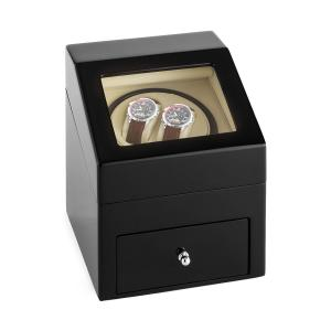 Monte Carlo Watch Winder Forward and Reverse Running 2 Watches Black Pure Handmade