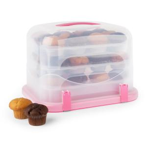 Pink Case XL Cake Box Cupcake Carrier 36 pcs 34.5 x 25 x 25.5cm Pink