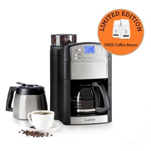 Klarstein Aromatica Set Coffee Machine Grinder Glass Jug / Thermos Stainless Steel
