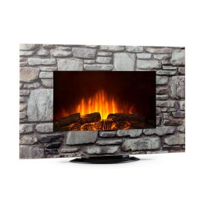 Klarstein Colmar Electric Fireplace Glass 2000W 7 LED Colors Remote Control