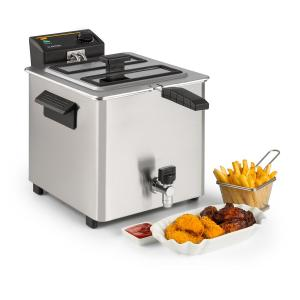 Klarstein Family Fry Deep Fryer 3000W Oil Drain Technology Stainless Steel Silver