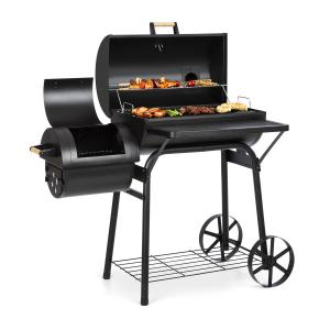 Klarstein Beef Brisket Smoker Grill Thermometer Wheels Cover Black