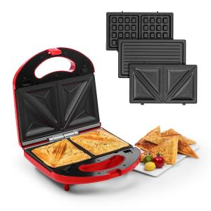 Trilit 3-in-1 Sandwich Maker 750W 3 Grillplatten LED Anti-Haft rot