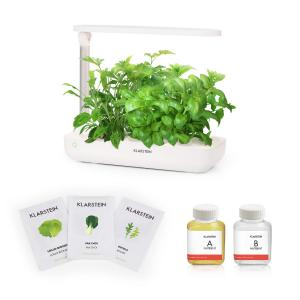 GrowIt Flex Starter Kit I Smart Indoor Garden Set | 9 Stecklinge | Wassertank: 2 Liter | 18 W Full-Spectrum LED-Beleuchtung | DaylightSimulation System: automatisches Ein- und Ausschalten der Beleuchtung | inkl. Nutri-Kit 60 Nährlösung & Salad-Seeds