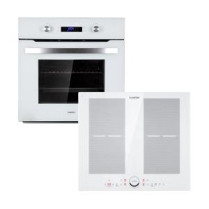 Klarstein Gusteau Delicatessa Built-In Oven Set Induction 7000W 64L White Stainless Steel
