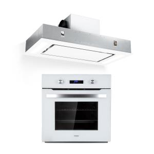 Klarstein Gusteau Remy Built-In Set Oven + Built-In Hood 2950W White Stainless Steel