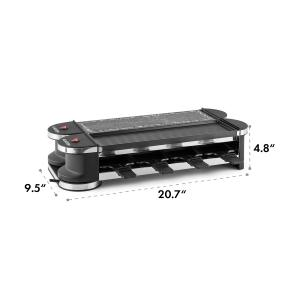 Tenderloin 50/50 Raclette-Grill 1200W 8 people Natural Stone Plate Metal Grill Plate