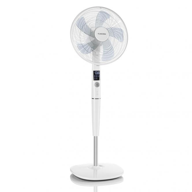 Silent Storm Pedestal Fan Adjustable Height Quiet Operation 12 Speed settings Remote Control 5 Operation Modes White White
