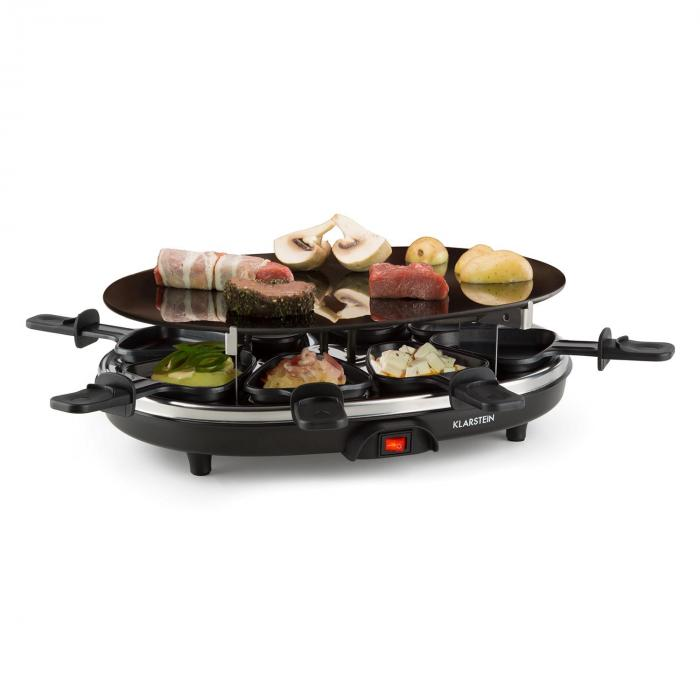 blackjack raclette grill 8 personen glaskeramik edelstahl schwarz klarstein. Black Bedroom Furniture Sets. Home Design Ideas