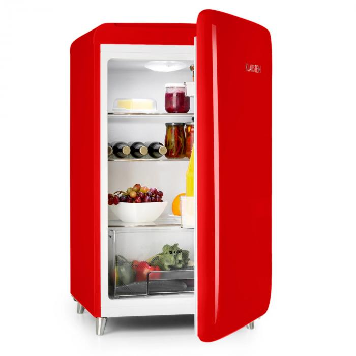 popart bar red fridge 136l retro design 3 levels vegetable tray a red klarstein. Black Bedroom Furniture Sets. Home Design Ideas