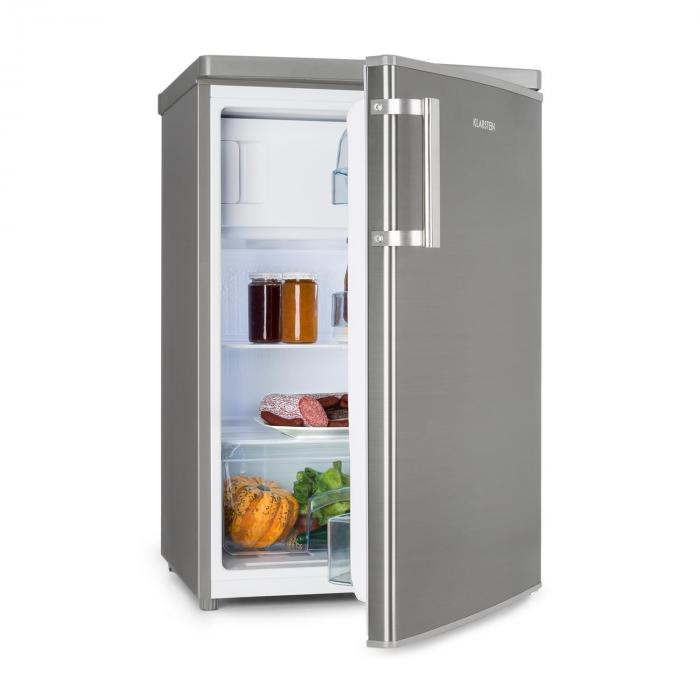 coolzone 120 eco fridge freezer a 118 litres stainless steel look klarstein. Black Bedroom Furniture Sets. Home Design Ideas