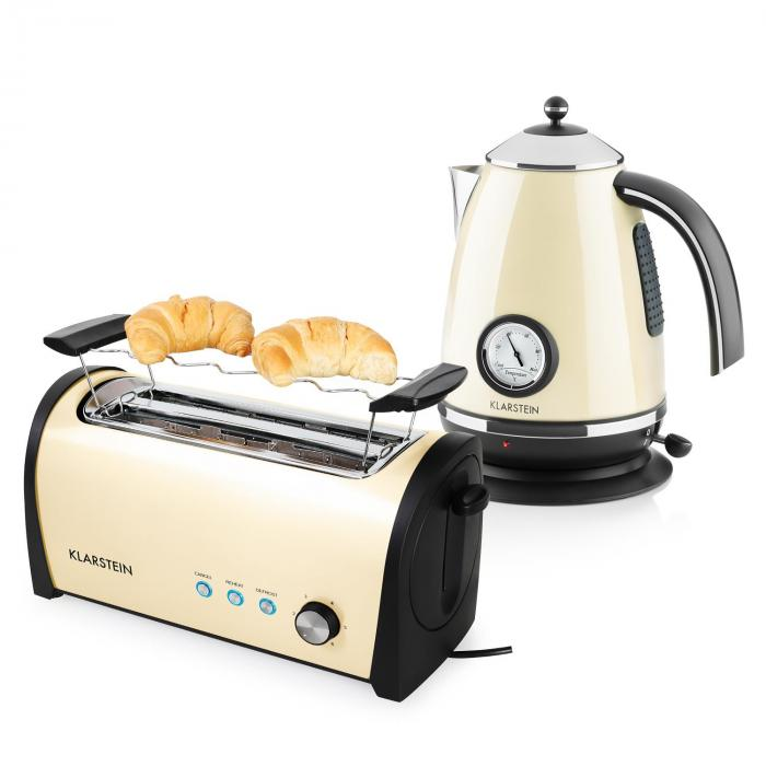 cambridge breakfast set cream beige 2200w kettle 1 7l 1400w toaster klarstein. Black Bedroom Furniture Sets. Home Design Ideas