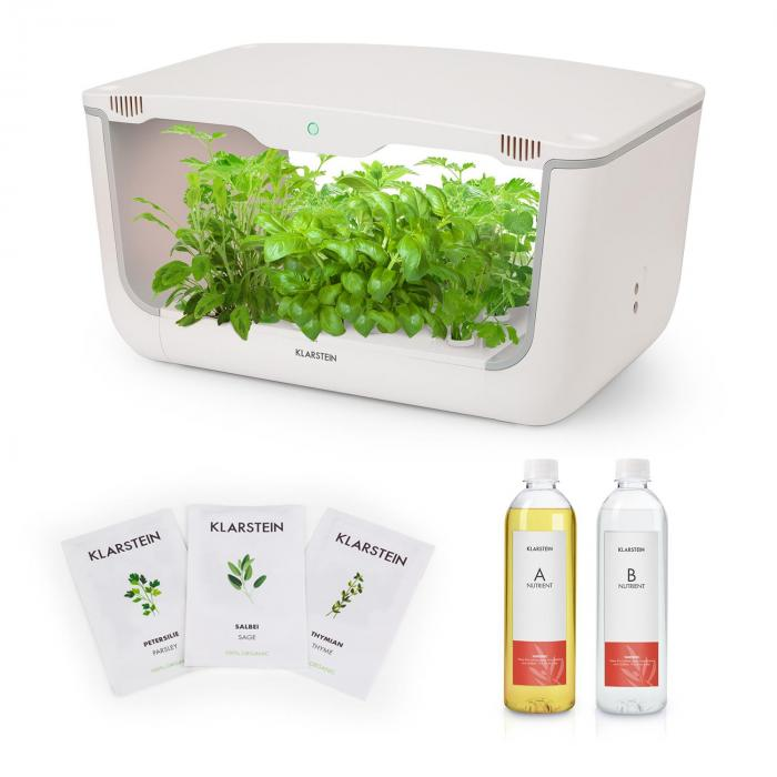 Klarstein GrowIt Farm Starter Kit Europe, 28 rostlin, 48 W, 8 l, semena Europe Seeds, živný roztok