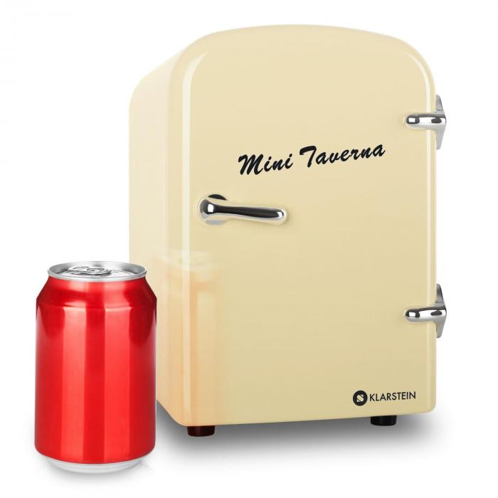 Mini taverna portable cooler cool box cream creme klarstein for Mini frigo design