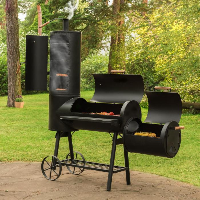 monstertruck bbq smoker grill steel black klarstein. Black Bedroom Furniture Sets. Home Design Ideas