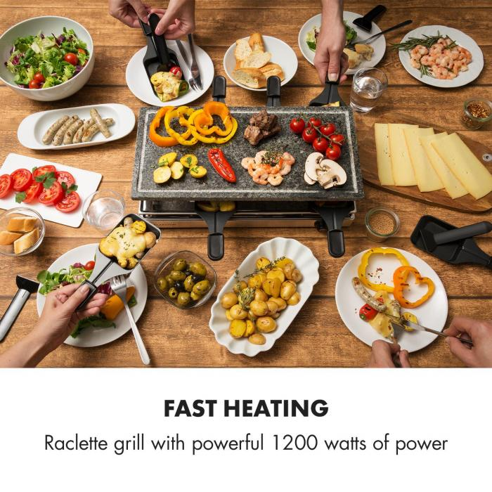 Gourmette Raclette 1200w Natural Stone Plate 8 Persons Stainless