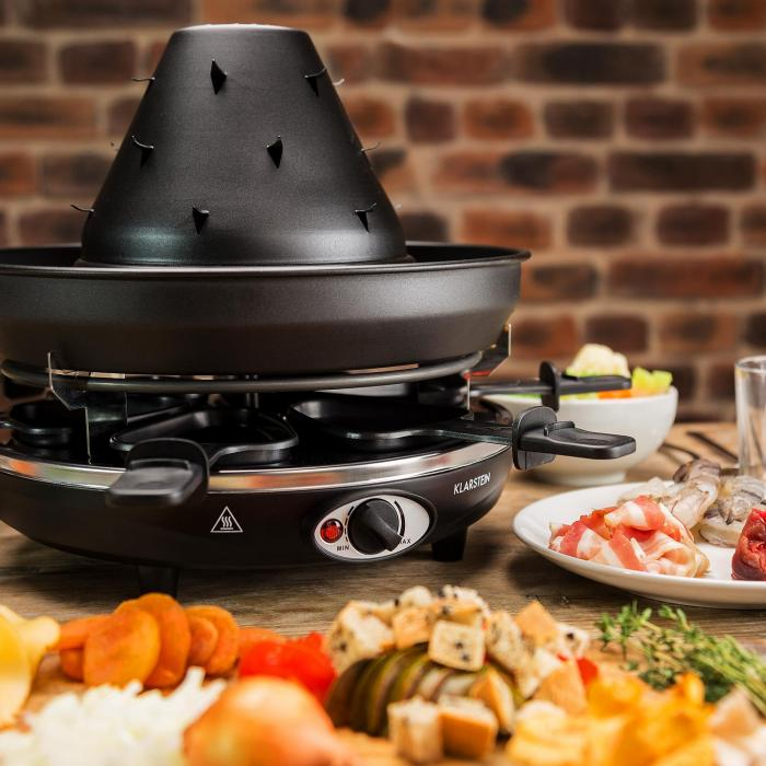taste volcano appareil raclette chapeau tatare 1500w 6 personnes klarstein. Black Bedroom Furniture Sets. Home Design Ideas