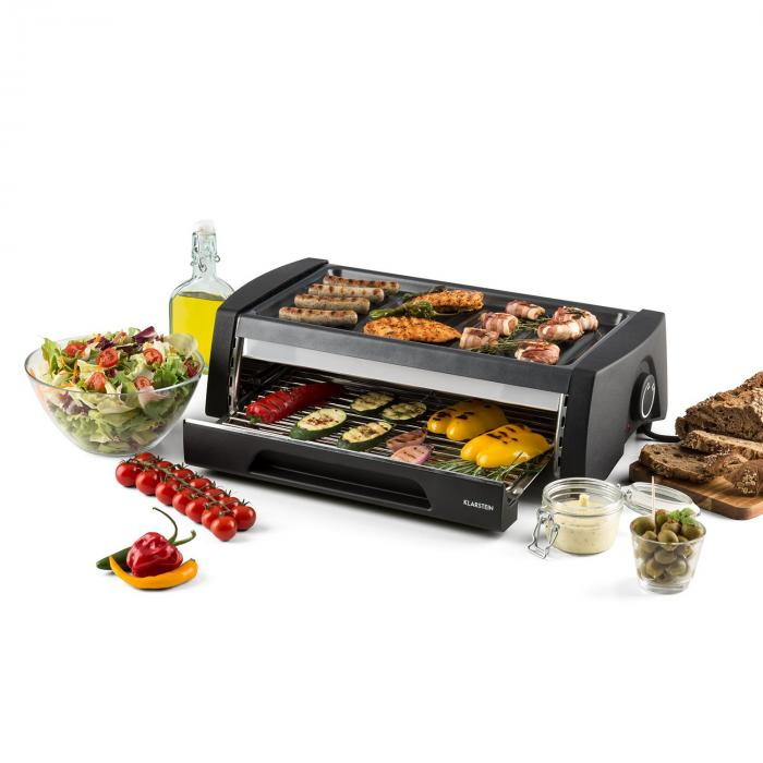 double decker 2 in 1 bbq grill oven nonstick stainless steel klarstein. Black Bedroom Furniture Sets. Home Design Ideas