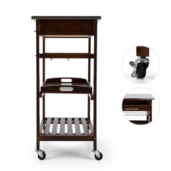 Vermont Kitchen Wagon Serving Trolley Drawer Wine Rack Stainless