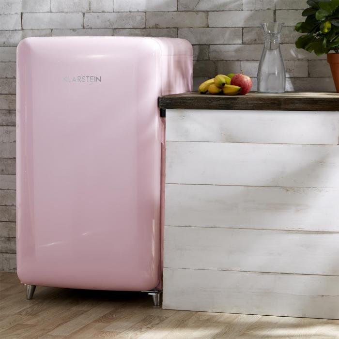 popart pink retro refrigerator a 108 l 13 l freezer pink pink klarstein. Black Bedroom Furniture Sets. Home Design Ideas