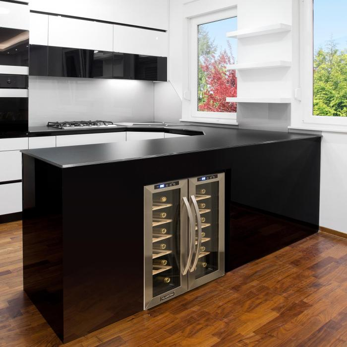 saloonnapa cave vin 67l 2 portes vitr es 11 18 c inox. Black Bedroom Furniture Sets. Home Design Ideas