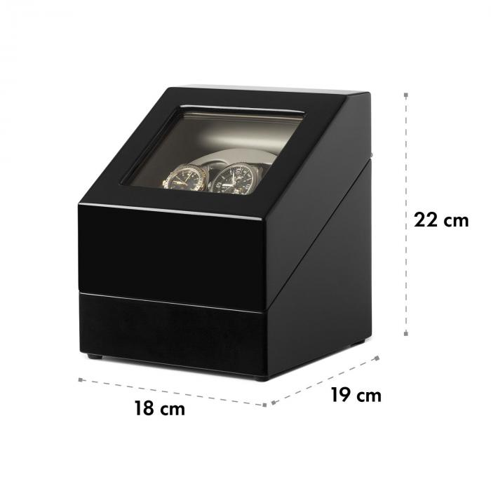 caja porta relojes negro 2 relojes klarstein. Black Bedroom Furniture Sets. Home Design Ideas