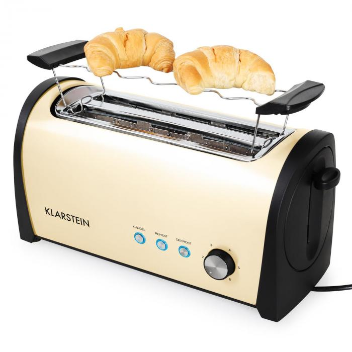 cambridge long two slot toaster 1400w cream creme klarstein. Black Bedroom Furniture Sets. Home Design Ideas