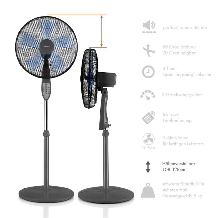 summerjam standventilator 2er set standl fter 50w 3 stufen grau klarstein. Black Bedroom Furniture Sets. Home Design Ideas