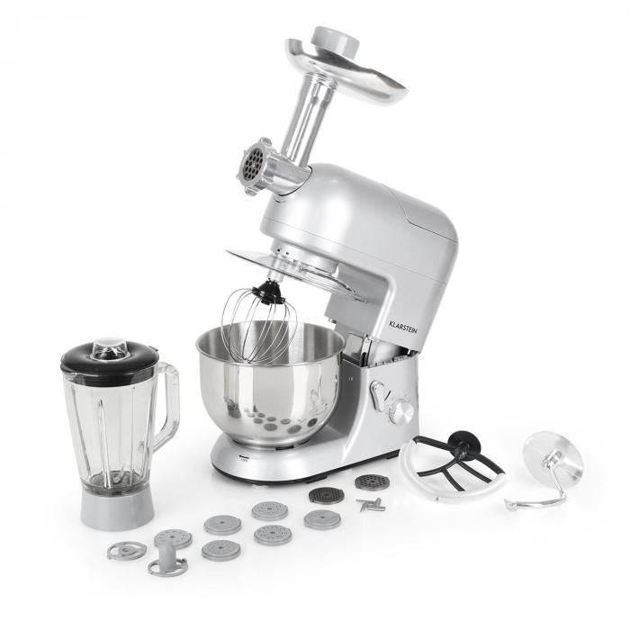 Lucia Argentea Stand Mixer Meat Mincer Mixer 1200w Silver Grey
