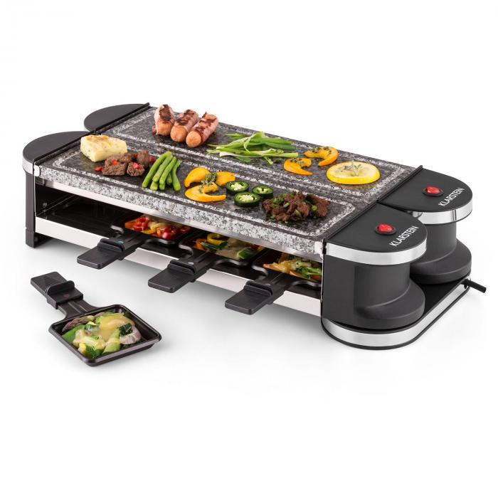 tenderloin 100 raclette grill 1200w 8 personnes 2x plaques en pierre naturelle pierre naturelle. Black Bedroom Furniture Sets. Home Design Ideas